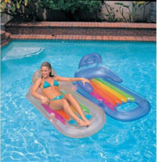 Intex luchtbed met rugsteun 160 cm  blauw