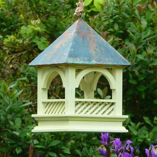 Groot Vogelvoederhuisje Met Koperen Dak - 20 x 20 x 30 cm