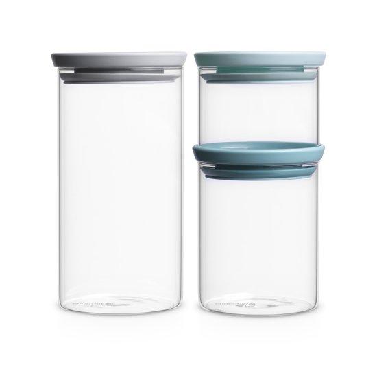 Brabantia Stapelbare Voorraadbussen - Glas - Set van 3