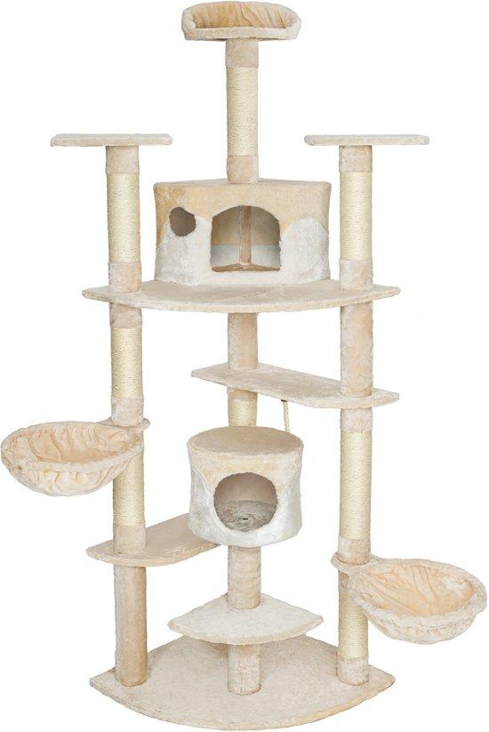 TecTake Katten krabpaal Fippi - 201 cm hoog - beige wit - 402186
