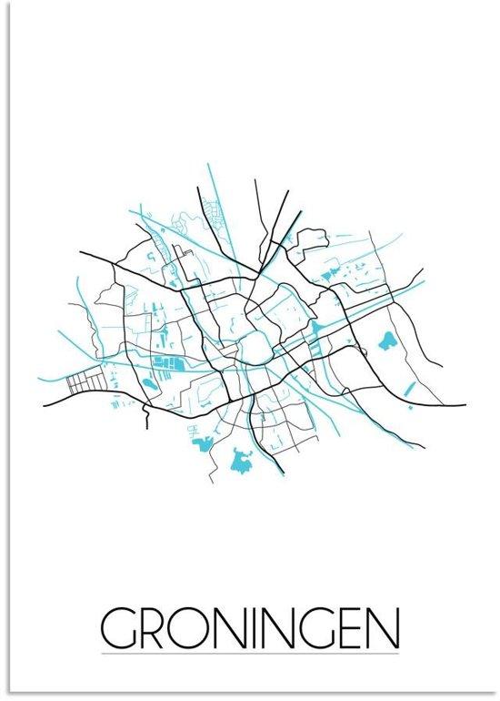 Plattegrond Groningen Stadskaart poster DesignClaud - Wit - A3 + Fotolijst zwart