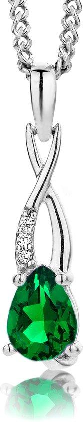 Majestine 925 Zilveren Collier met gecreëerde Smaragd en Zirkonia - Ketting 45cm