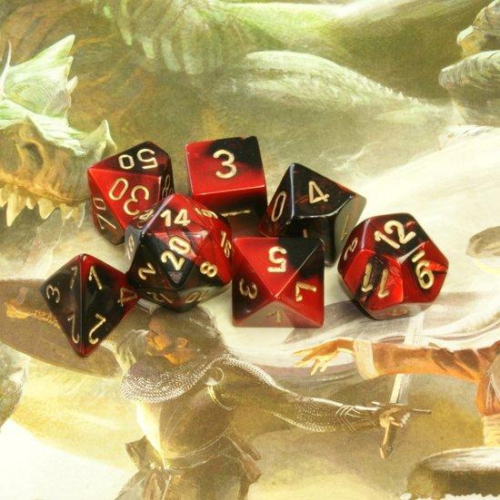 7-delige Polydice / dobbelstenen Set voor Dungeons & Dragons |Gemêleerd Zwart-Rood