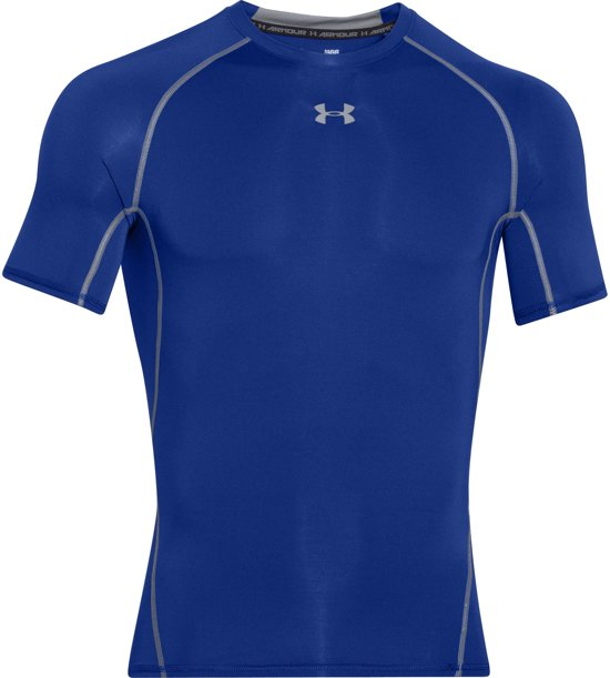 Under Armour HG Armour SS Heren Sportshirt - Royal - Maat L