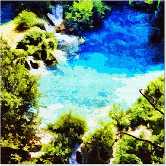 Canvas Schilderij Natuur in blauw en groen