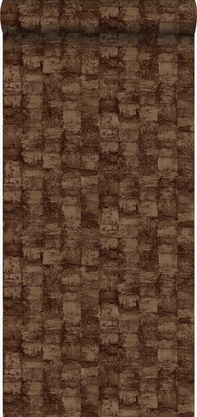 Origin behang met structuur glanzend koper bruin