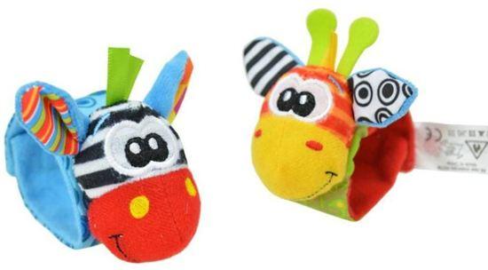 4-delige Baby Infant Pols rammelaar en Speelsokken voetzoekersokken , Set Developmental Soft Toy,  Grijp en bijtspeelgoed - Girrafe