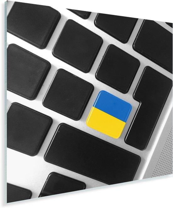 De Oekraïense vlag op een toetsenbord Plexiglas 90x90 cm - Foto print op Glas (Plexiglas wanddecoratie)