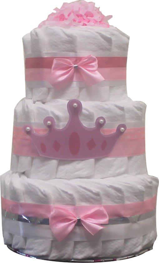 Pampertaart / luiertaart meisjes 3-laags Prinses  maat 2 (4-8kg) Kraamcadeau, Babyshower, Geboortecadeau