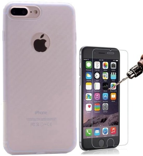 Teleplus iPhone 6 3D Fiber Carbon Silicone Case Transparent + Glass Screen Protector hoesje
