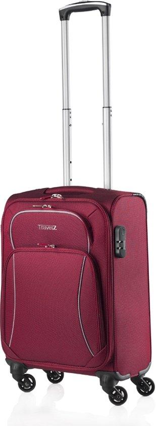 Travelz - Softspinner Handbagage koffer - Trolley 55 cm volledig gevoerde reiskoffer - Rood