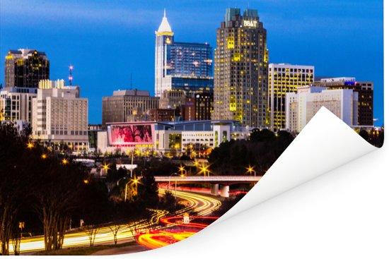 Drukke wegen in Raleigh in de Amerikaanse staat North Carolina Poster 120x80 cm - Foto print op Poster (wanddecoratie woonkamer / slaapkamer)