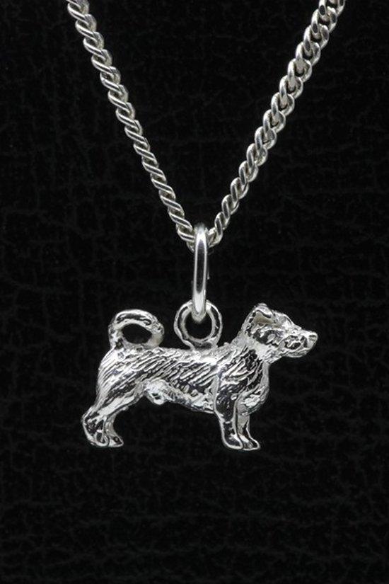 Zilveren Jack russell terrier ruwhaar met staart ketting hanger - klein