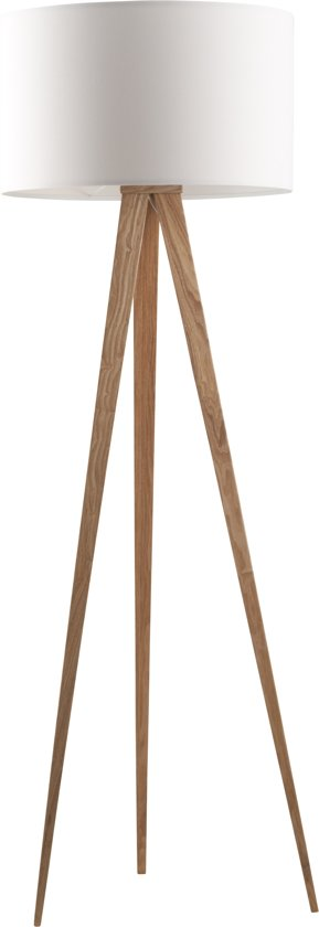 Zuiver Tripod Wood - Vloerlamp - Wit