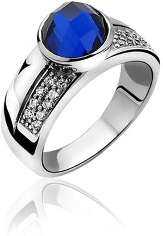 zinzi ring met blauwe steen