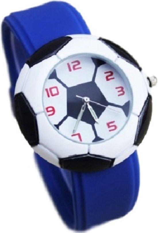 Kinder voetbal horloge blauw Ø 40 mm I-deLuxe verpakking