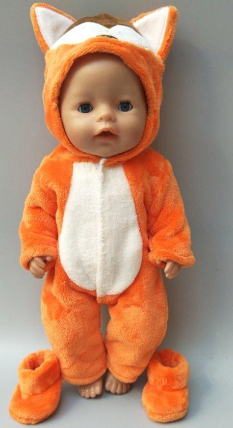 Poppenkleertjes | Geschikt voor Baby Born | Vos onesie met slofjes| Oranje en Bruin | Met capuchon | Pyjama