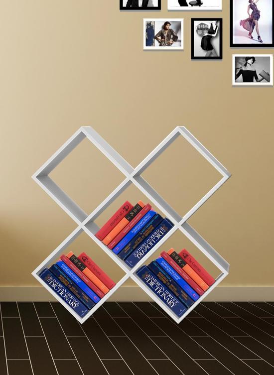 vinyl lp kast boekenkast open design sico 5 vakken wit
