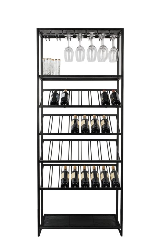 Zuiver Cantor Wijnrek - 180 x 75 x 35 cm - Zwart - Ijzer - 32 flessen