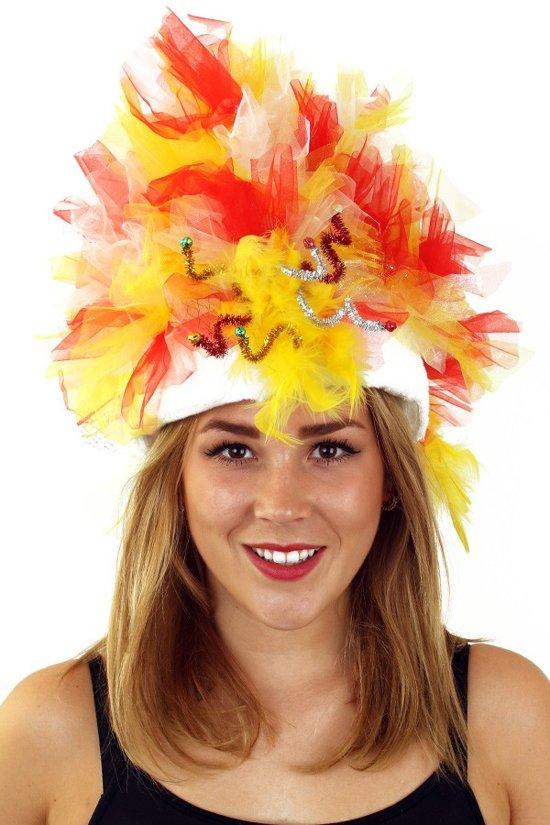 Fur hoed rood/wit/geel opgemaakt inclusief verlichting