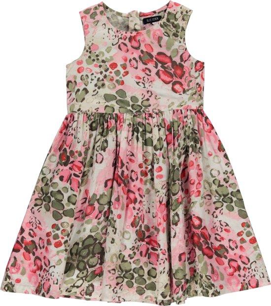 Blue Seven meisjeskleding - Witte jurk met luipaardprint - Maat 128