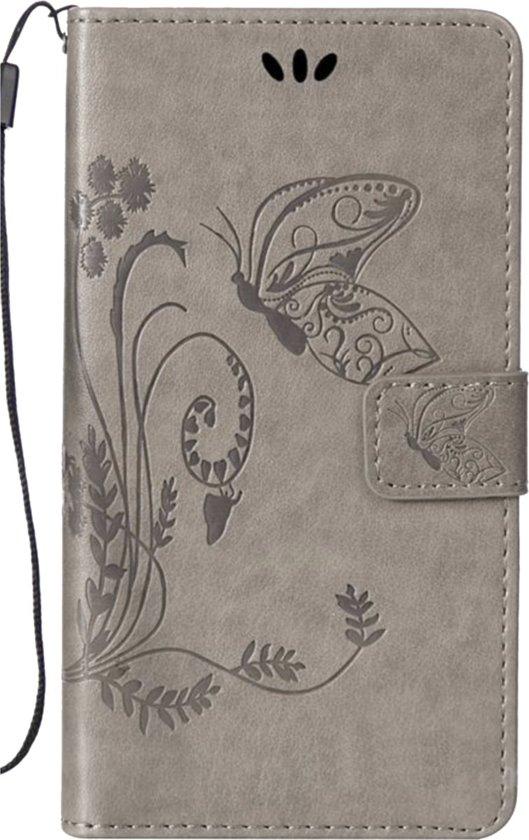 Bookcase voor Apple iPhone 6 iPhone 6s Grijs Vlinders Portemonnee Hoesje