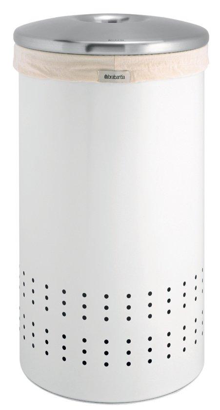 Brabantia Wasbox 50 Liter Matt Steel.Wasbox 50 Liter Met Matt Steel Deksel Wit