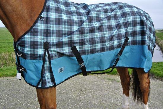 Regendeken luxe 0 gram paardendeken met fleece voering Groene ruit maat 195