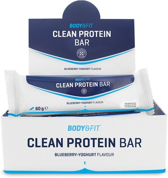 Body & Fit Clean Protein bar - Eiwitreep - 1 doos (12 eiwitrepen) - Blueberry Yoghurt