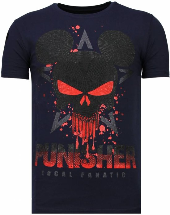 Local Fanatic Punisher Mickey - Rhinestone T-shirt - Navy - Maten: L