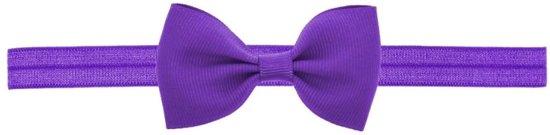 Haarband baby/kind elastiek paars met strikje