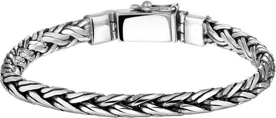 The Jewelry Collection Armband Gevlochten 6 mm - Zilver Geoxideerd
