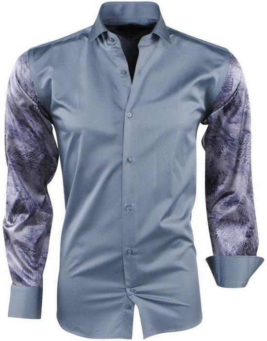 Donker Design Slangen Slim Pradz Grijs Fit Overhemd Heren nwXpwqzY