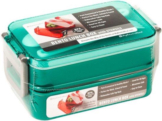 Stapel Lunchbox 6 Delig met Lepel & Vork  Lunchtrommel   Broodtrommel   Bento Box   Vershoudbakje   Div.Kleuren