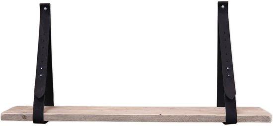 Leren plankdrager zwart set met steigerhout