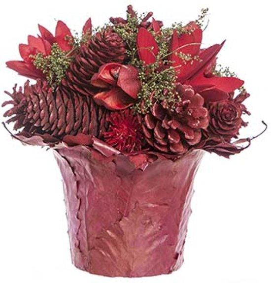 Rood kerststukje in pot 16 cm Valentinaa
