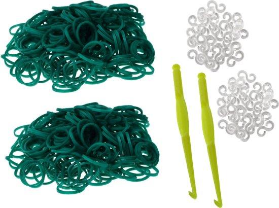 600 Loom Bands met 2 weefhaken en S-clips groen