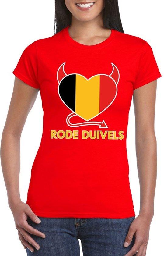 Rood Belgie rode duivels hart supporter shirt dames M