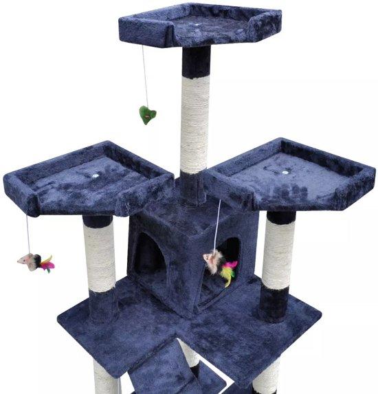 Krabpaal Max 170 cm 2 huisjes - donkerblauw