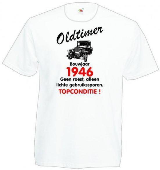 Mijncadeautje heren leeftijd T-shirt wit maat M - Oldtimer Bouwjaar (geboortejaar) 1946