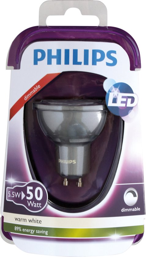 philips led reflector gu10 5 5w 50w warmwit 350lm. Black Bedroom Furniture Sets. Home Design Ideas