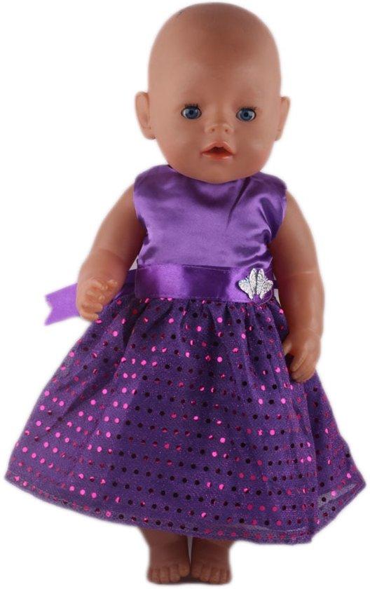 Poppen kleding - Paars jurkje met pailletten en vlinders - Past op Baby born of andere poppen 39 tot 45 cm