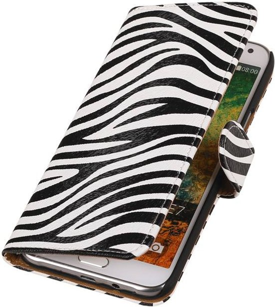 Wicked Narwal | Zebra bookstyle / book case/ wallet case Hoes voor Samsung Galaxy E7 Wit