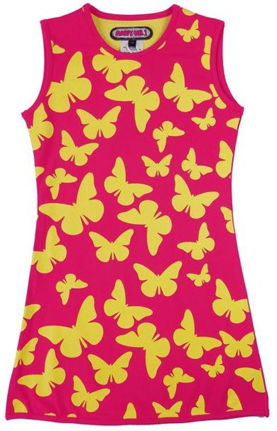 Happy Nr. 1-jurk, zomerjurk-kleur: roze, geel-Vlinders-maat 140