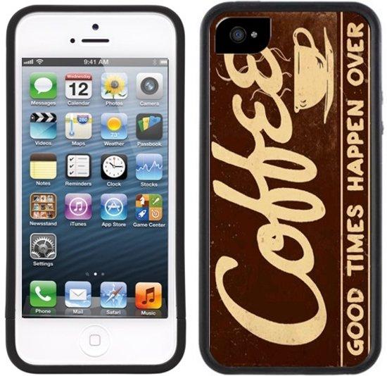 Koffie - Handmade - iPhone 5 5s - Zwart TPU Hoesje