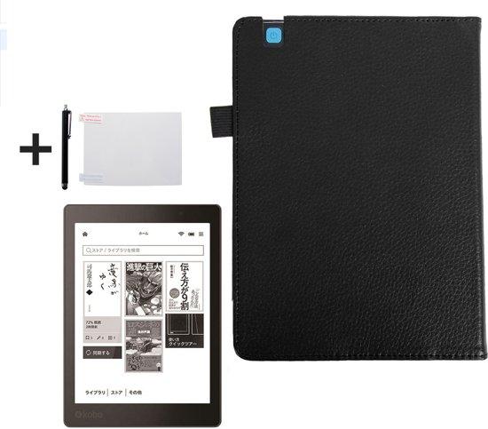 PU Leren Sleepcover Beschermhoes Voor Kobo Aura Edition 2 - Ereader Editie  2nd - 6 Inch Slimfit Smart Case Cover Sleeve Hoes - Zwart
