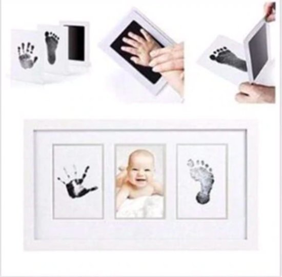 Baby fotokaartje handafdruk en voetafdruk - inkt kraamcadeau - eenvoudig schoonmaken - 2 stuks - kleur zwart - incl. handleiding