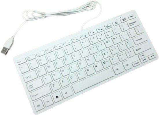 Keyboard MINI bedraad QWERTY toetsenbord USB-aansluiting / Wit met witte toetsen