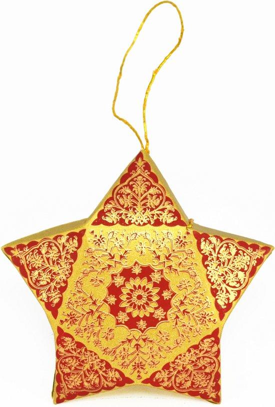 5 stuks Cadeaudoosjes voor in de Kerstboom met schitterende print (10,5x3cm), Kerstboomversiering, Kerstboomhanger, Kerstdecoratie - goud