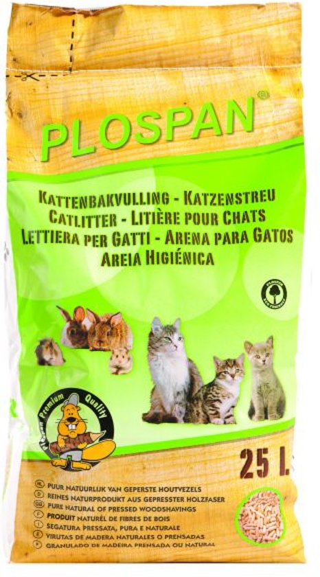 Plospan Houtkorrel - Kattenbakvulling - 25 ltr / 14 kg